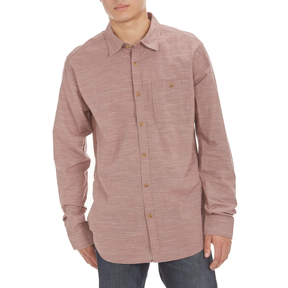 OCEAN CURRENT Guys' Authentically Woven Long Sleeve Shirt - DEEP BURGUNDY