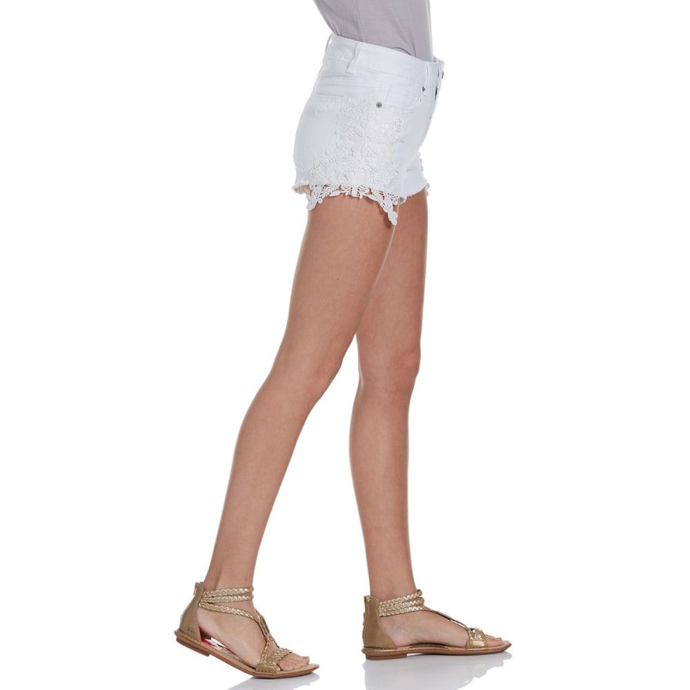 VANILLA STAR Juniors' Crochet Hem Shorts - WHITE WASH