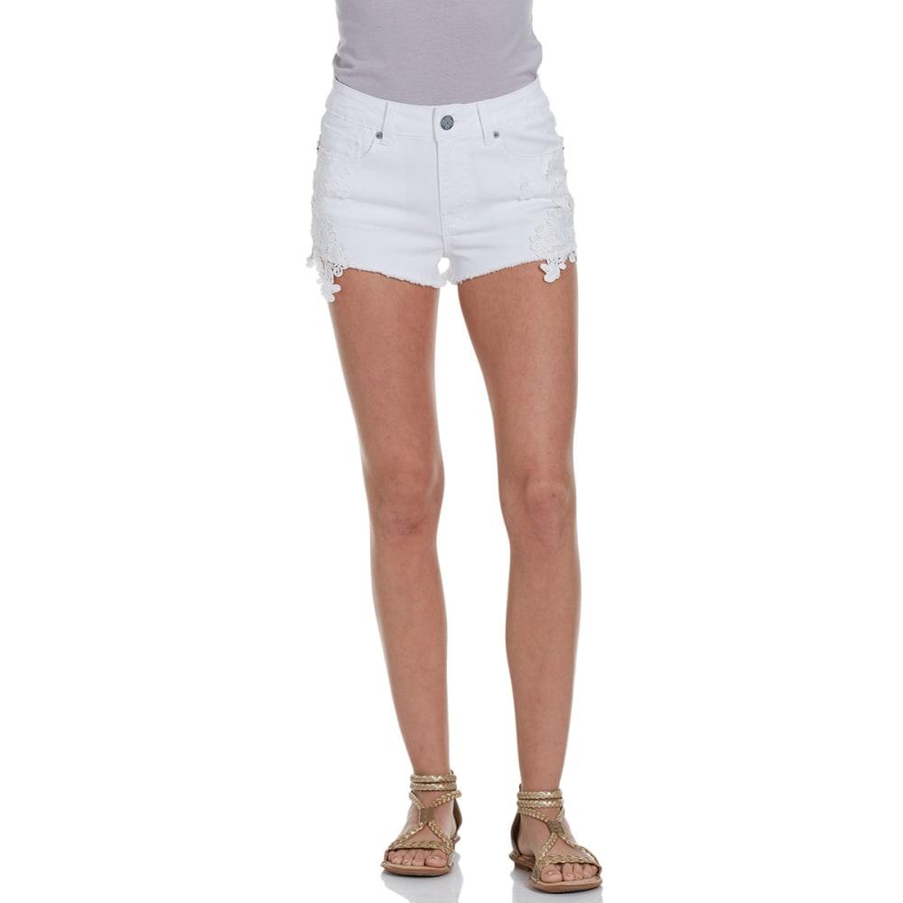 VANILLA STAR Juniors' Crochet Hem Shorts - WHITE WASH