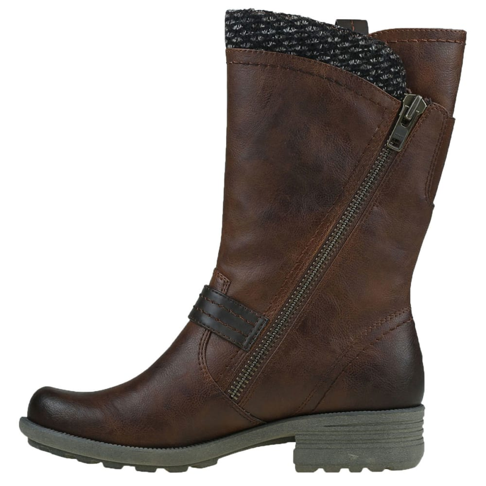 EARTH ORIGINS Women's Presley Sweater Asymmetric Zip Boots - MID BROWN