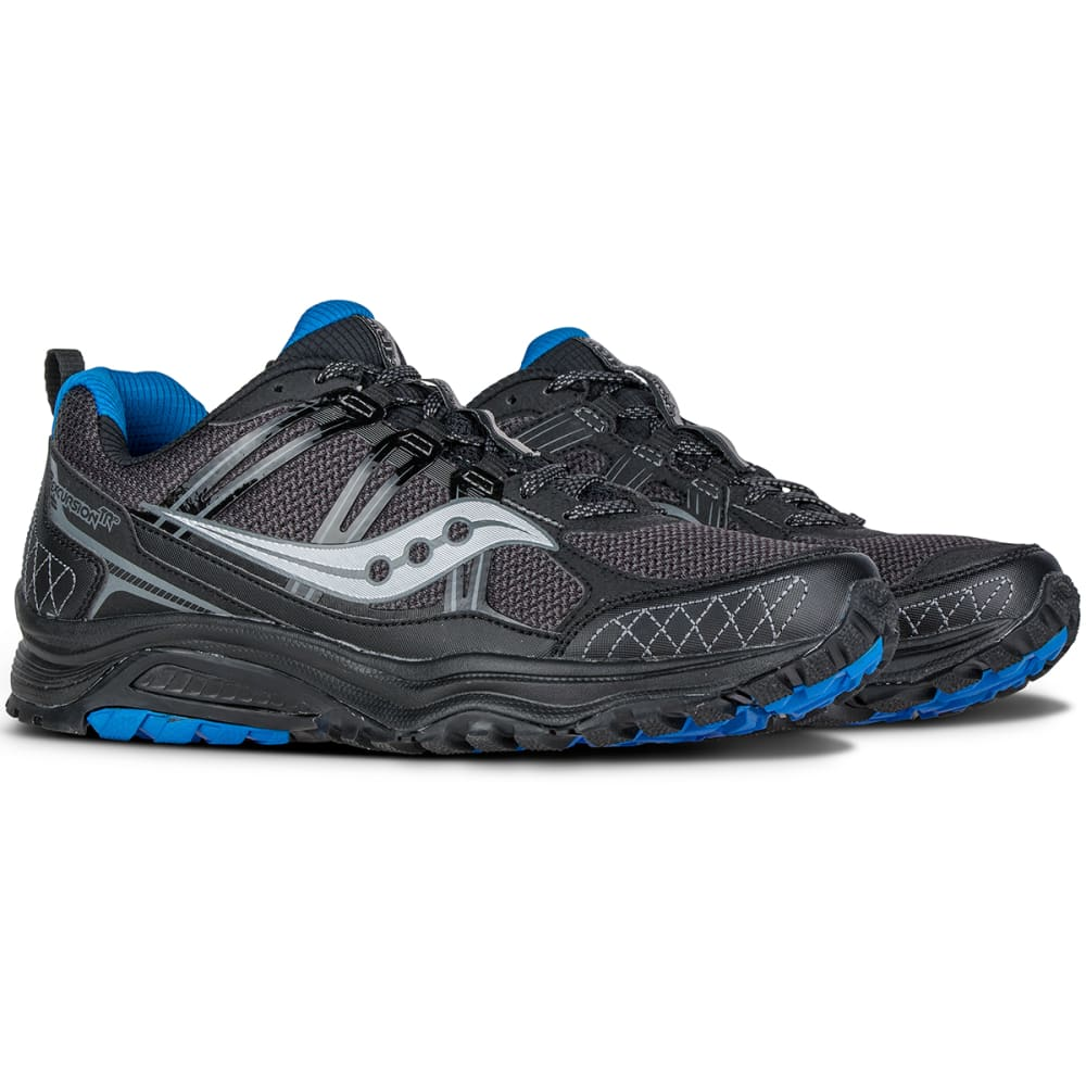 SAUCONY Men's Excursion TR10 Trail Running Shoes, Black/Royal - BLACK