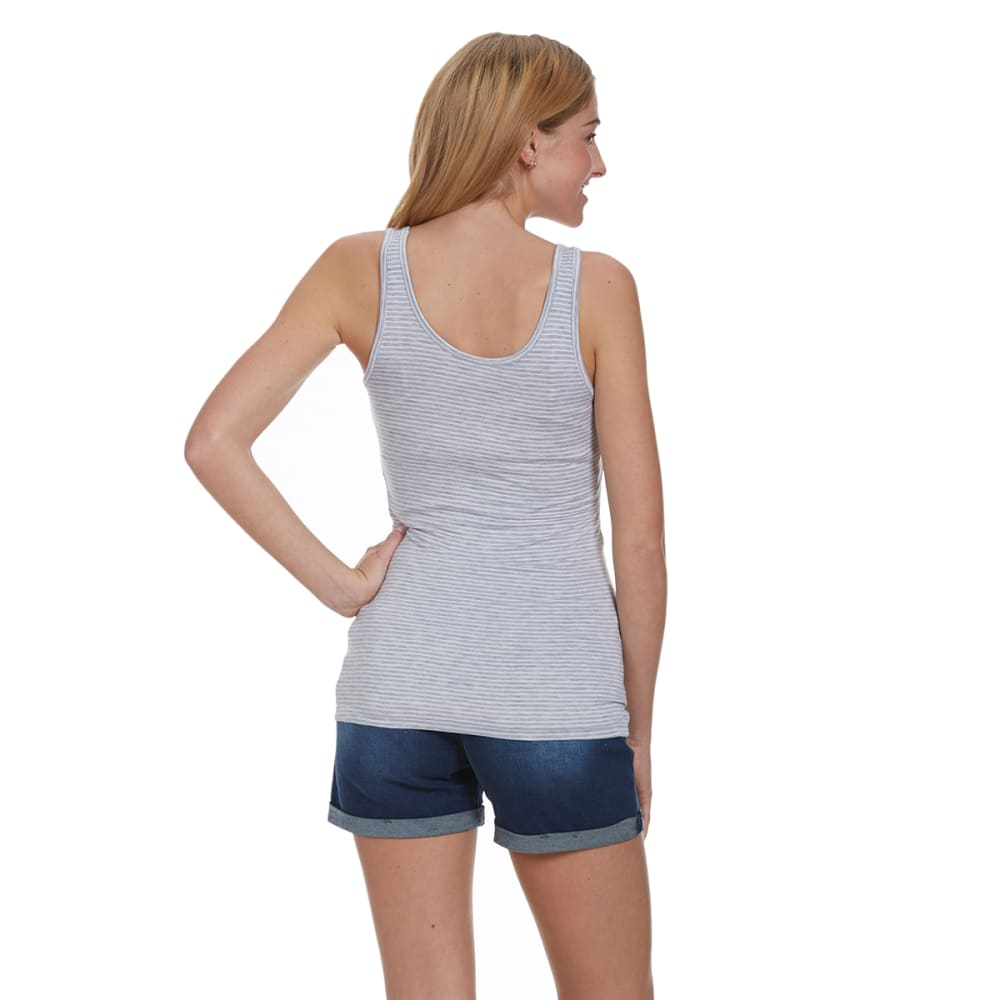 ZENANA OUTFITTERS Juniors' Stripe Double Scoop Tank - H. GREY/WHITE