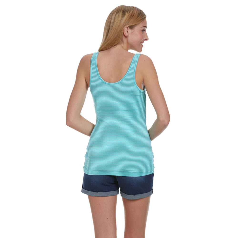 ZENANA OUTFITTERS Juniors' Stripe Double Scoop Tank - MINT/WHITE