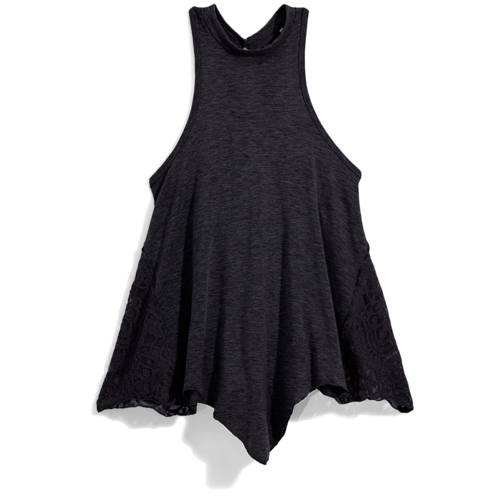 POOF Juniors' High Neck Tank Top with Crochet Sides and Keyhole Back - BLACK
