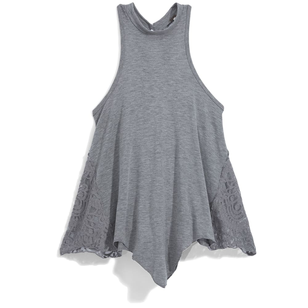 POOF Juniors' High Neck Tank Top with Crochet Sides and Keyhole Back - HEATHER GREY