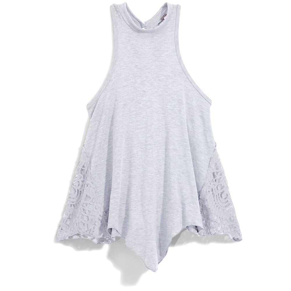 POOF Juniors' High Neck Tank Top with Crochet Sides and Keyhole Back - WHITE HTR