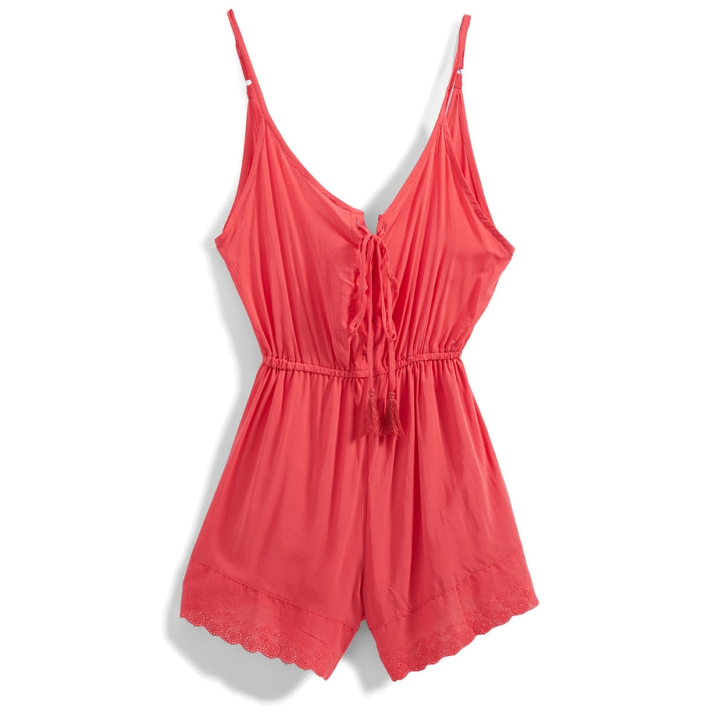 POOF Juniors' Solid Lace-Up Romper With Lace Hem - CORAL ROSE