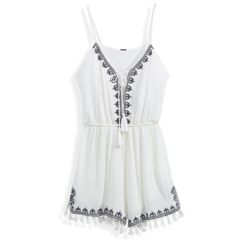 POOF Juniors' Embroidered Lace-Up Romper with Fringe Hem - IVORY