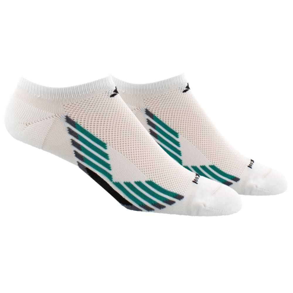 ADIDAS Men's Climacool X No-Show Socks, 2-Pack - WHITE/EGT GREEN