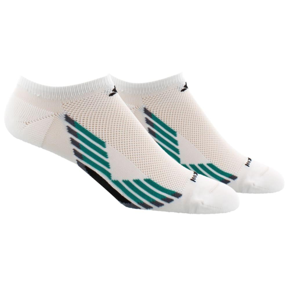 ADIDAS Men's Climacool X No-Show Socks, 2-Pack - WHITE/EGT GREEN