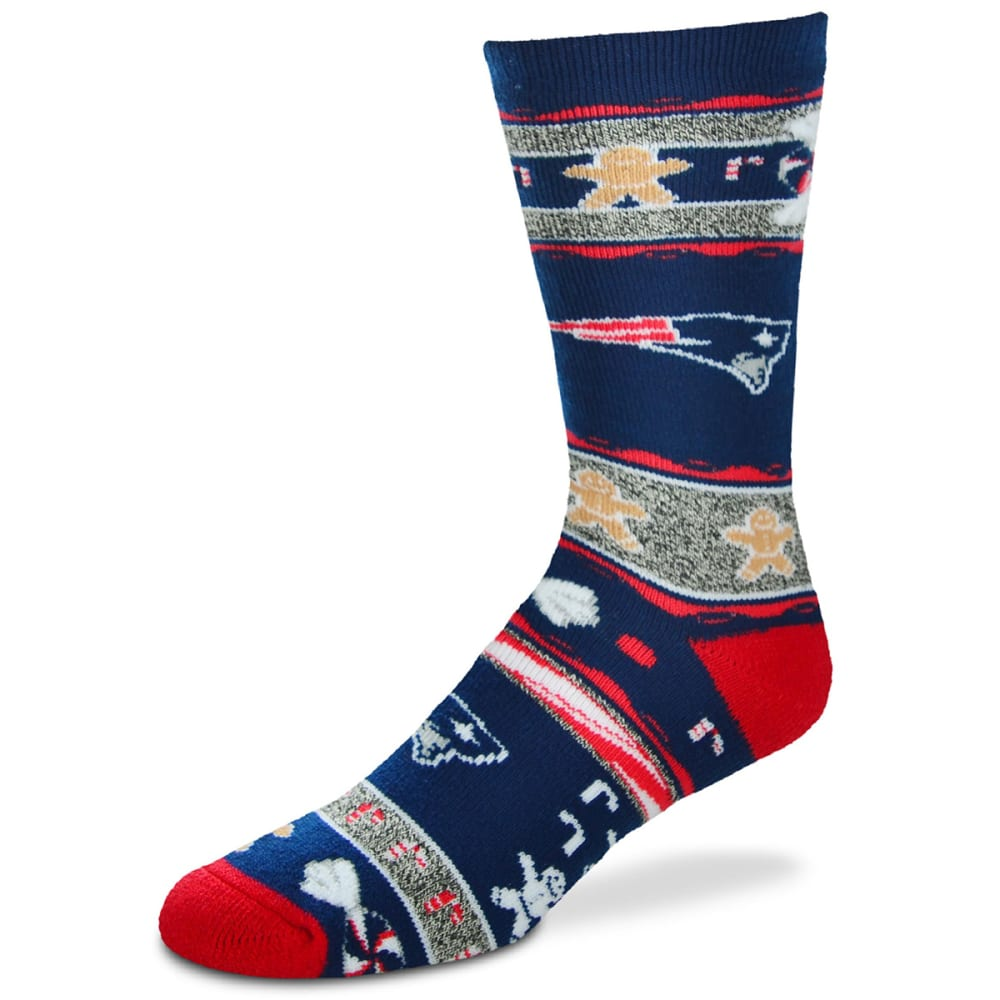 NEW ENGLAND PATRIOTS Ugly Christmas Socks - NAVY/BRIGHTRED/ICE