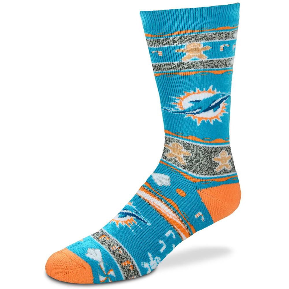 MIAMI DOLPHINS Ugly Xmas Socks - TURQUOISE/ORANGE/ICE