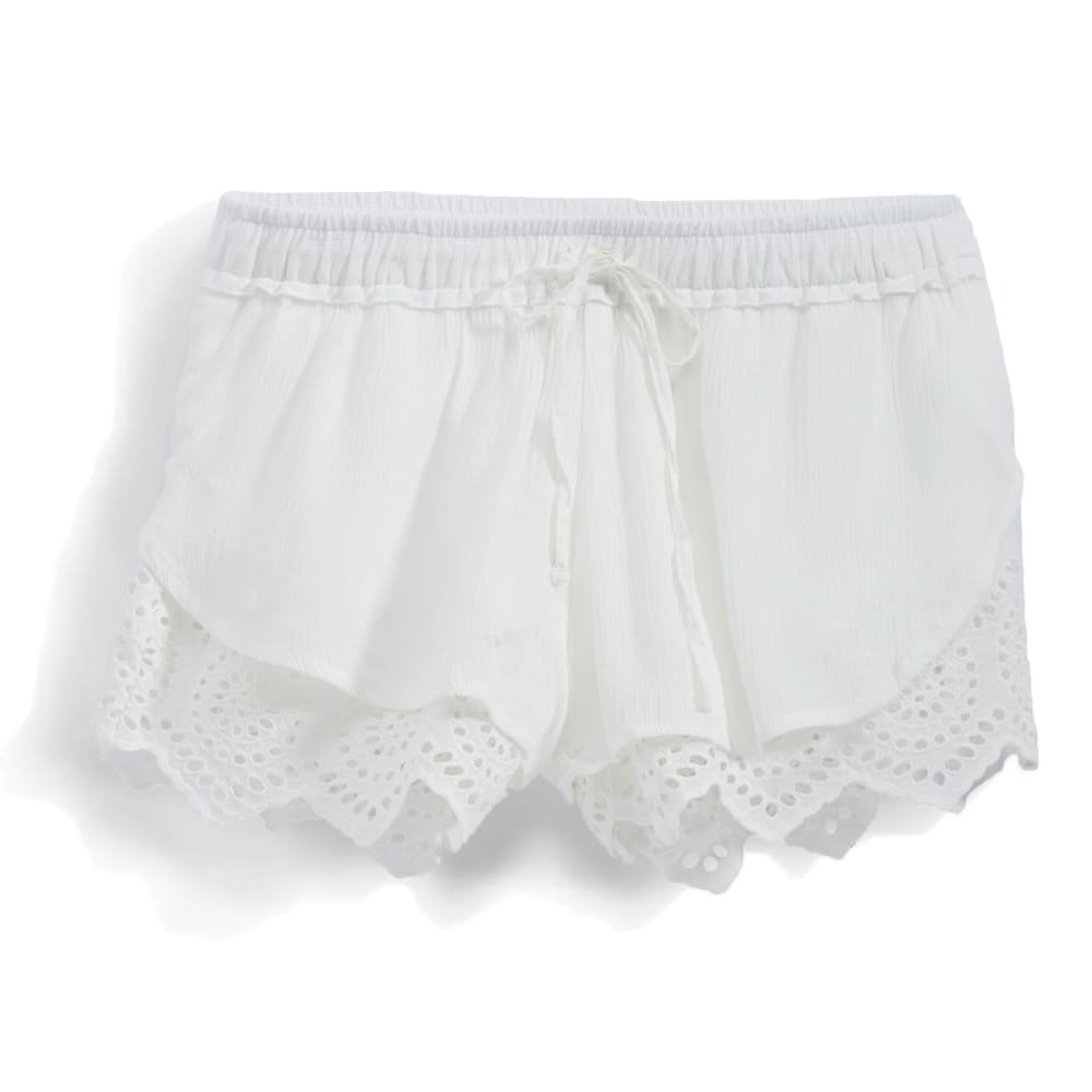 INDIGO REIN Juniors' Eyelet Soft Shorts - 62 WHITE