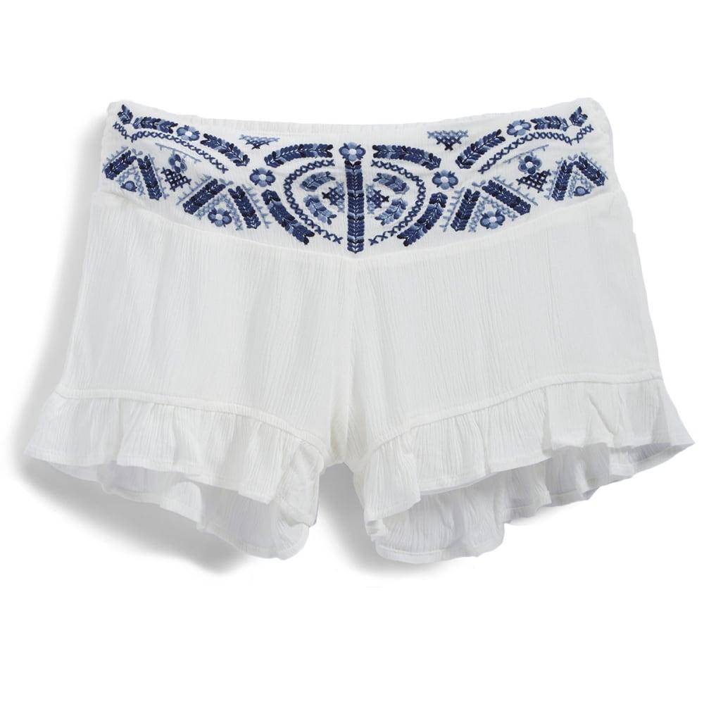 INDIGO REIN Juniors' Embroidered Soft Shorts with Ruffle Hem - C5 WHITE