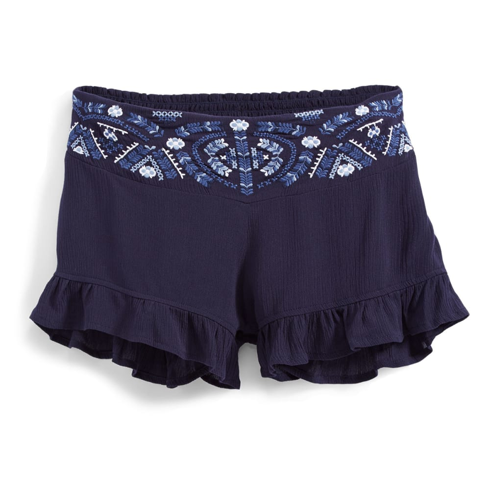INDIGO REIN Juniors' Embroidered Soft Shorts with Ruffle Hem - C2 PEACOAT NAVY