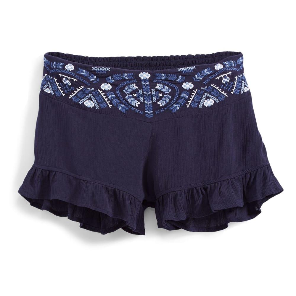 INDIGO REIN Juniors' Embroidered Soft Shorts with Ruffle Hem - C2 PEACOAT NAVY