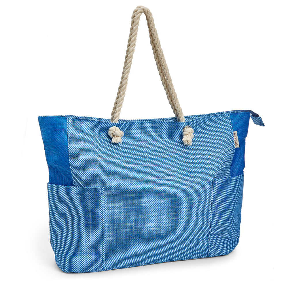SUN 'N' SAND Colorblock Oversized Beach Tote - -A BLUE/LT BLUE