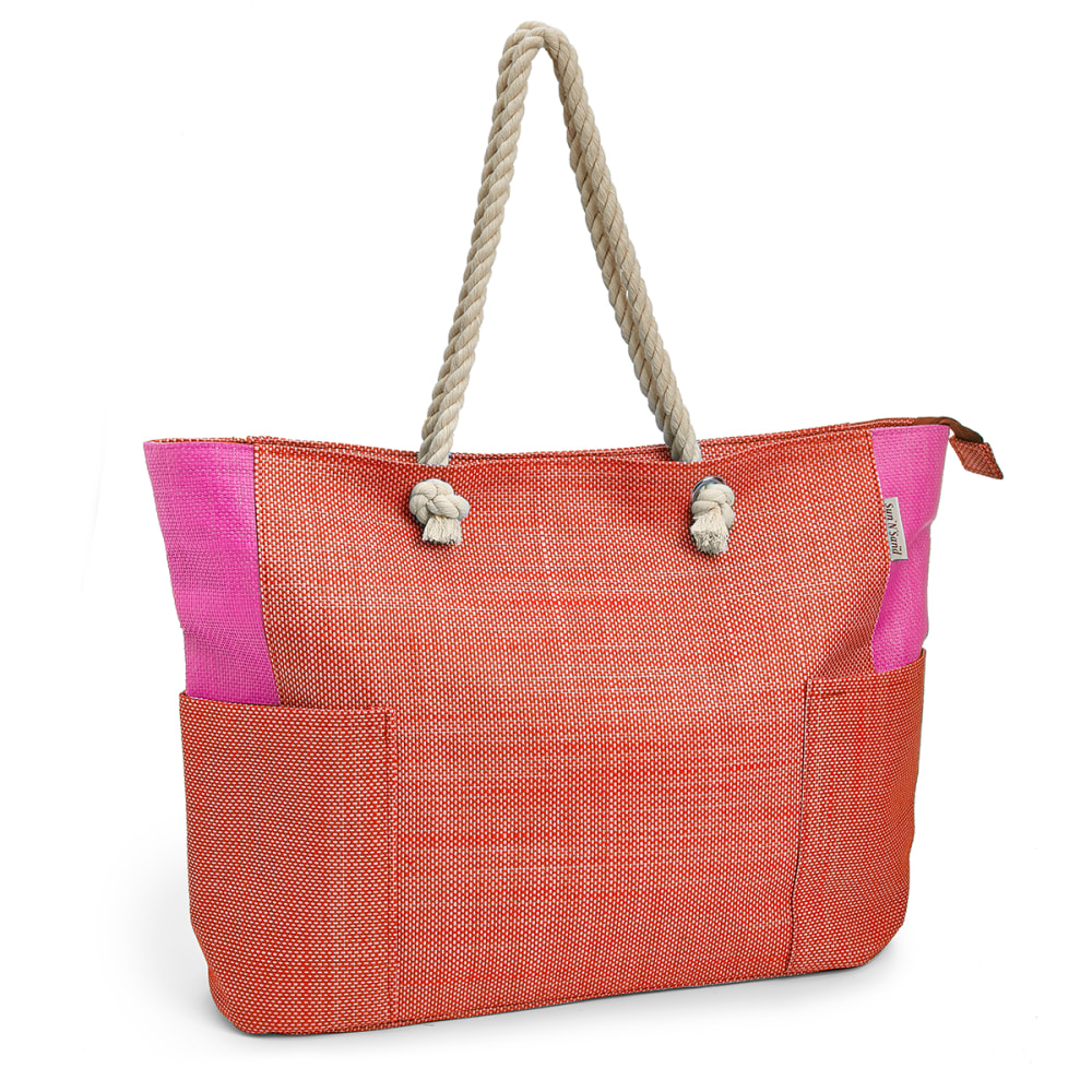 SUN 'N' SAND Colorblock Oversized Beach Tote - -B FUCHSIA/ORANGE