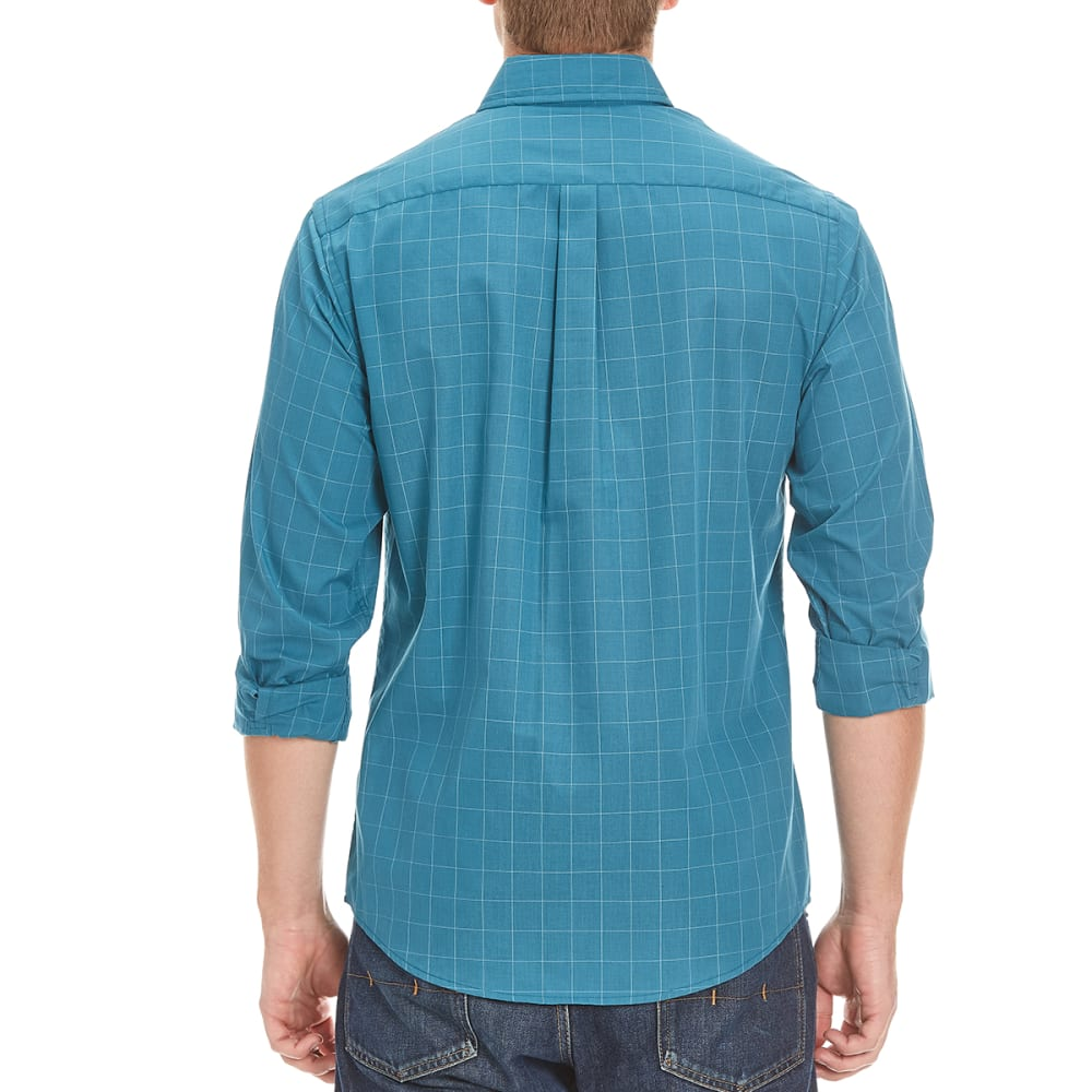 DOCKERS Men's Windowpane Check Woven Long-Sleeve Shirt - 8376-DRAGONFLY