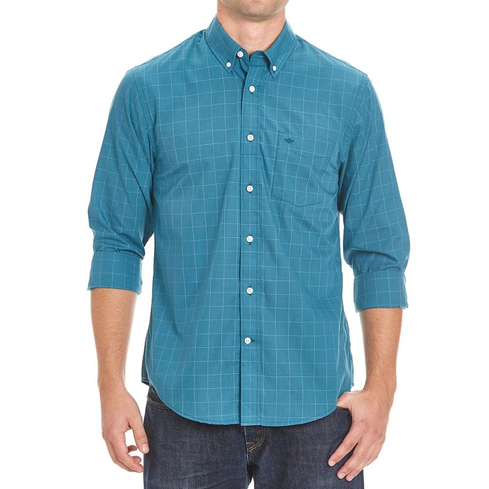 DOCKERS Men's Windowpane Check Woven Long-Sleeve Shirt - 8376-DRAGONFLY
