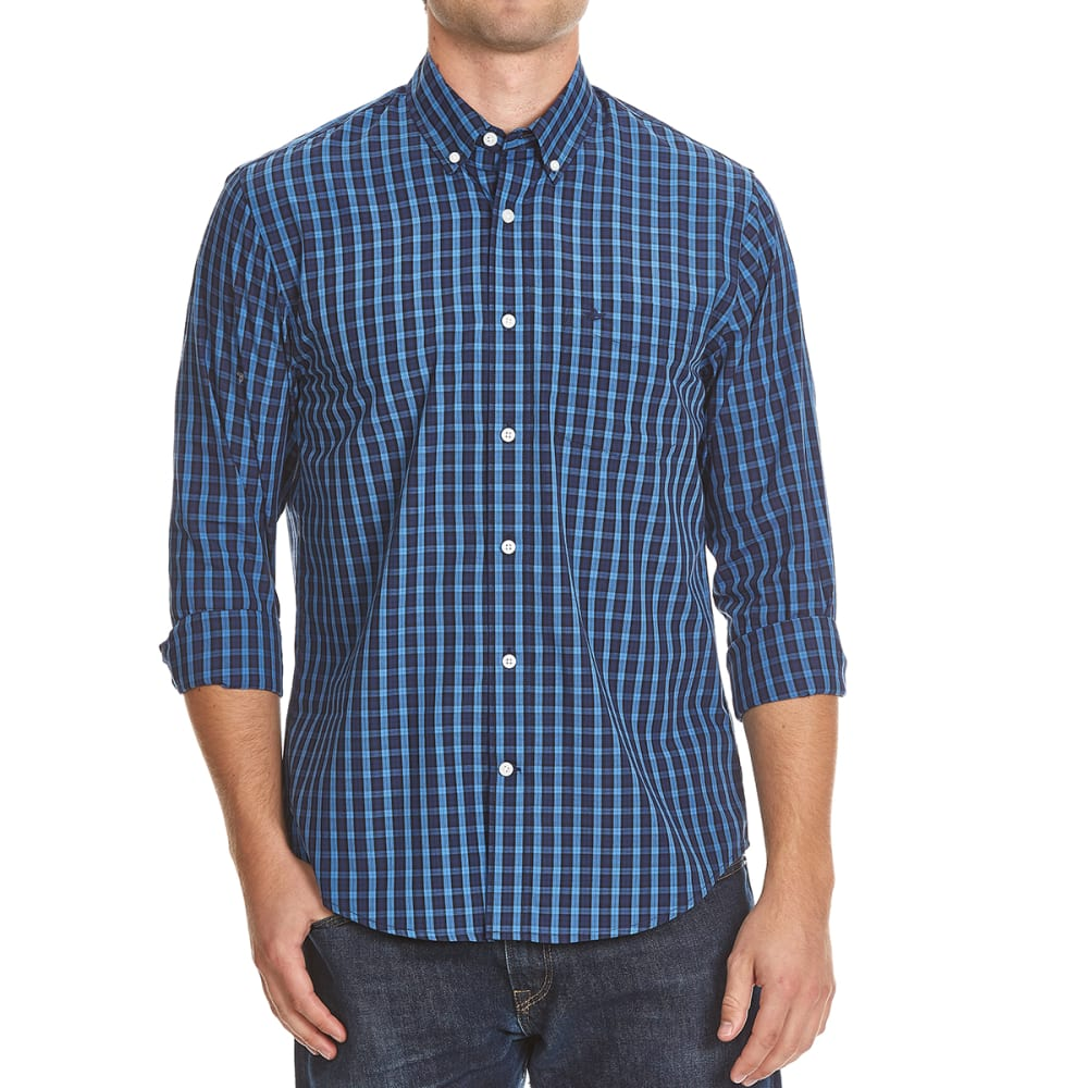 DOCKERS Men's Box Plaid Woven Shirt - 8445-DELFT