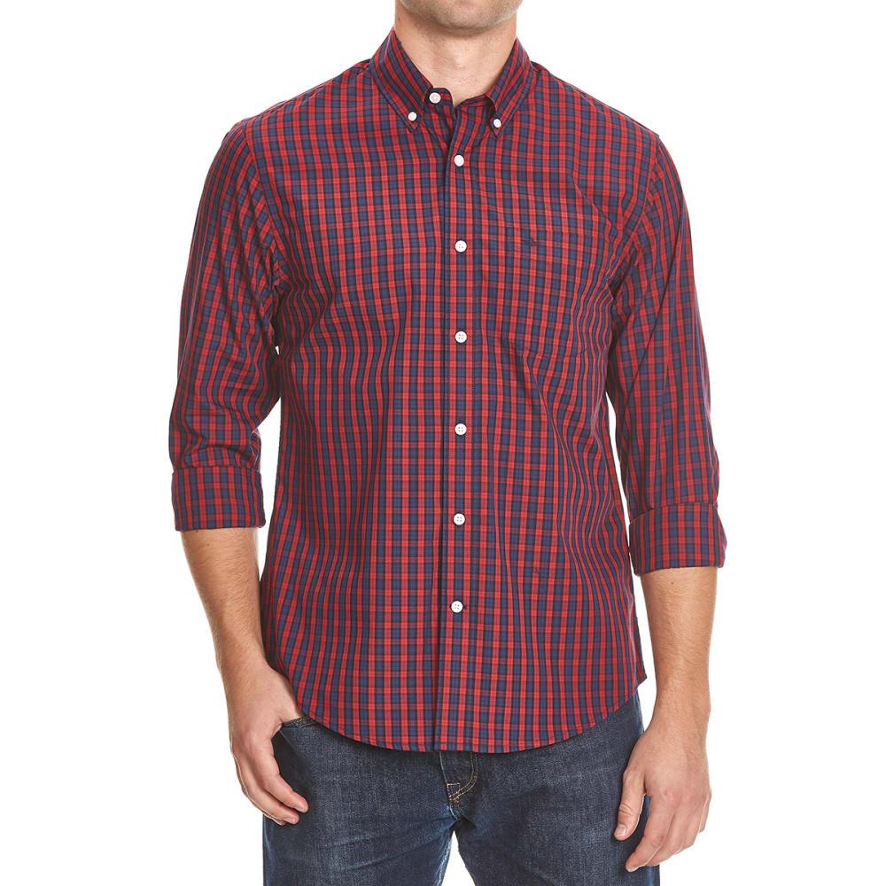 DOCKERS Men's Box Plaid Woven Shirt - 8619-RIO RED