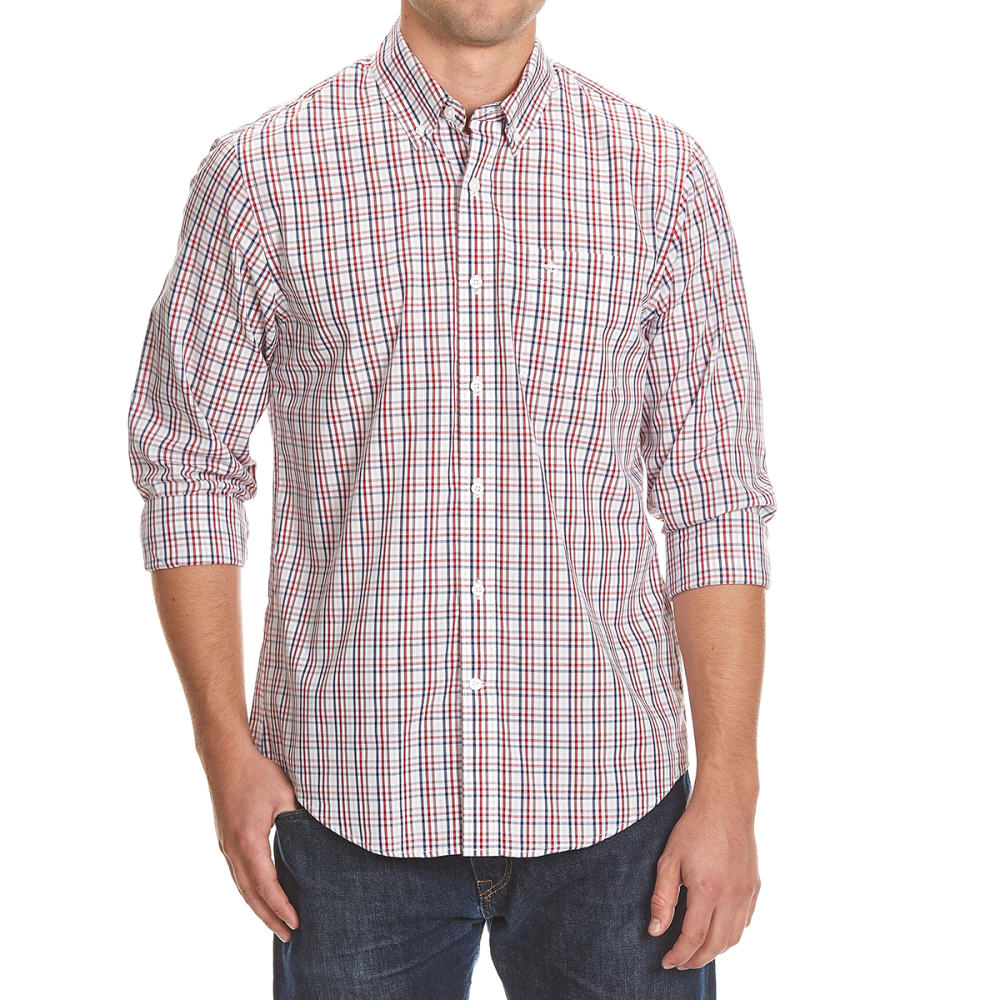DOCKERS Men's Tattersall Woven Long-Sleeve Shirt - 8619-RIO RED