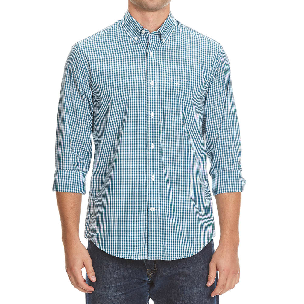 DOCKERS Men's Micro Check Woven Long-Sleeve Shirt - 8376-DRAGONFLY
