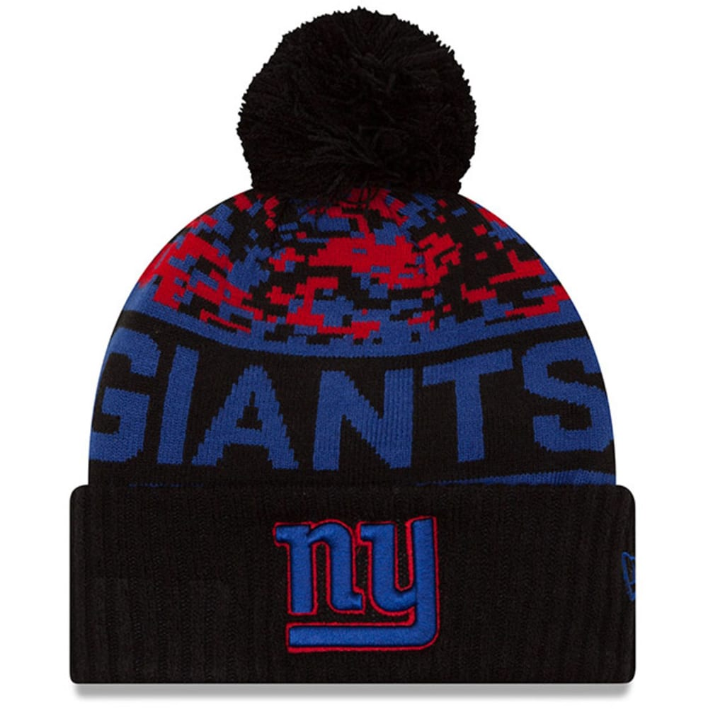 NEW YORK GIANTS Winter Freeze Cuffed Pom Beanie - BLACK/ROYAL