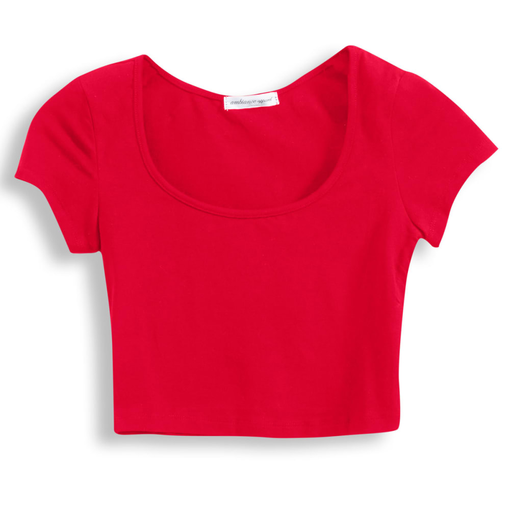 AMBIANCE APPAREL Juniors' Scoop Neck Crop Top - BRIGHT RED