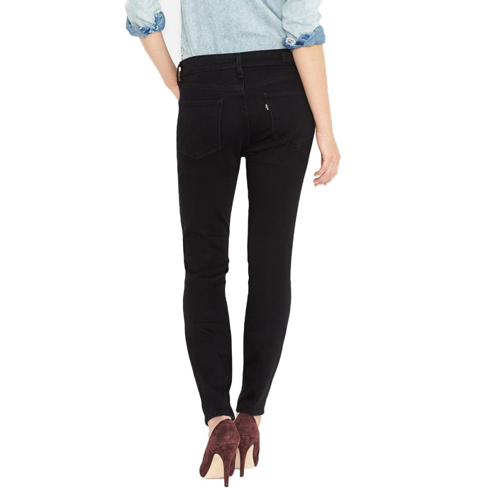 LEVIS Women's Mid Rise Skinny Leg Jeans, Short Length - 0115-BLACK SATEEN