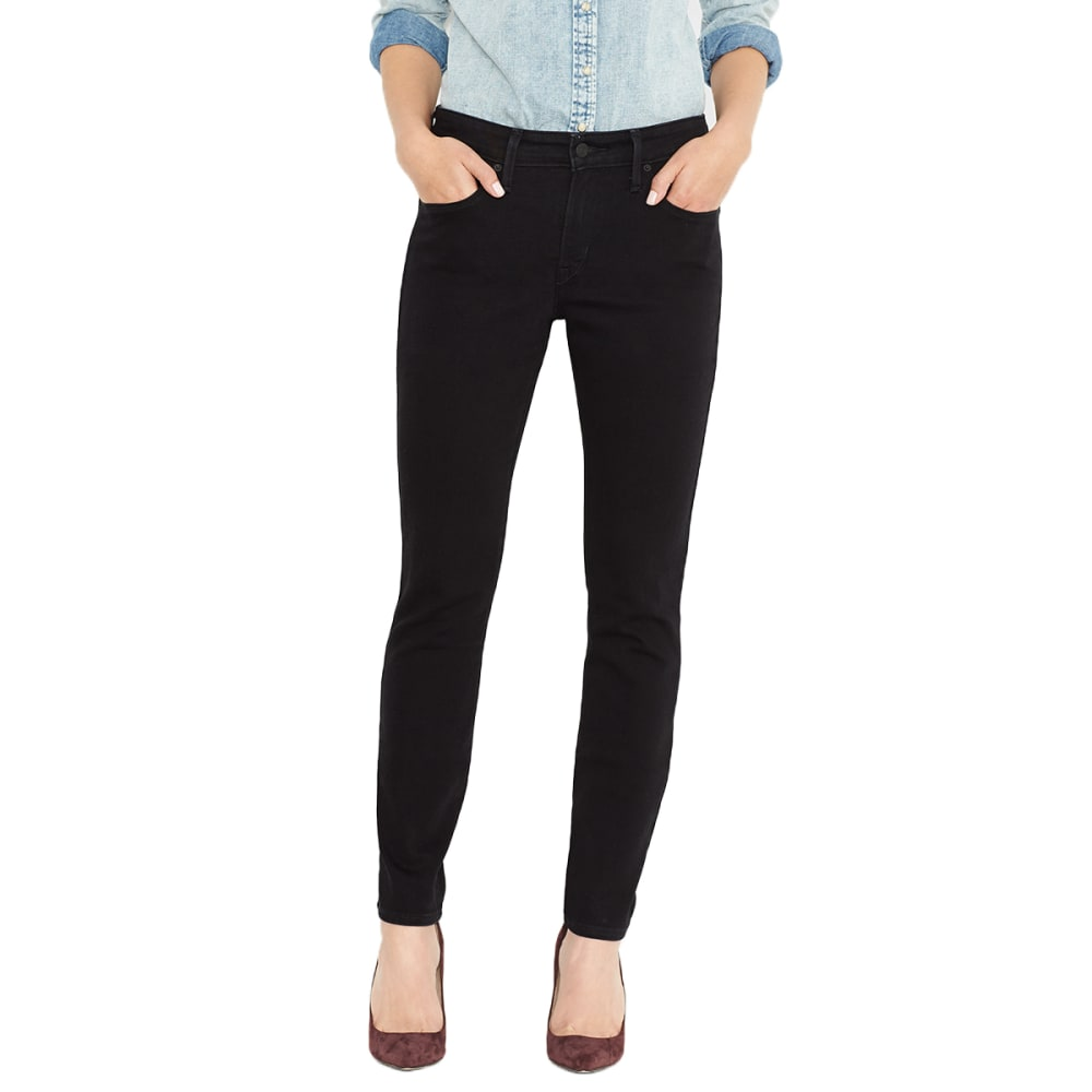 LEVI'S Women's Mid Rise Skinny Leg Jeans, Short Length - 0115-BLACK SATEEN