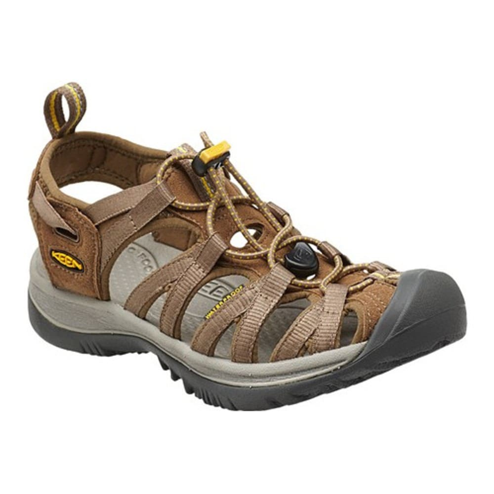 KEEN Women's Whisper Sandals, Coffee Liqueur/Yellow - COFFEE/LIQUEUR YELLO