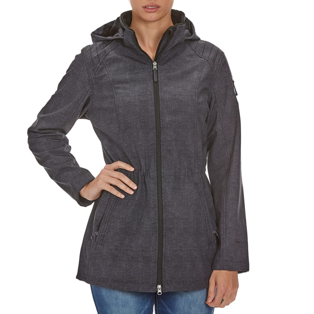 FREE COUNTRY Women's Long Anorak Softshell Jacket - BLACK