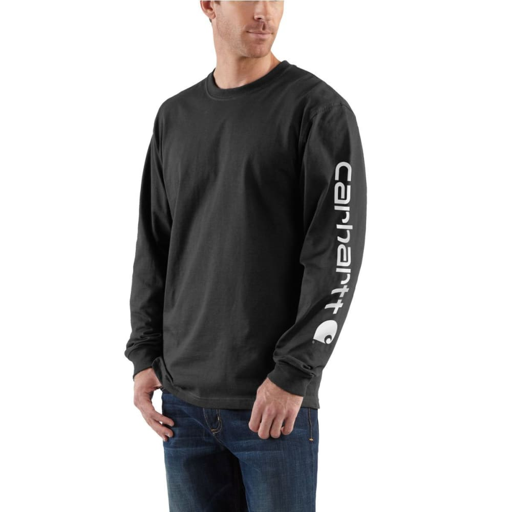 Carhartt Men's Long-Sleeve Graphic Logo Tee - Black, M