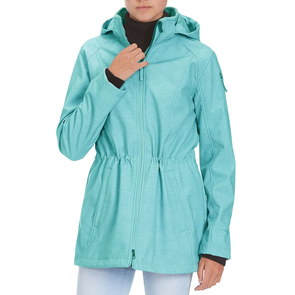 FREE COUNTRY Women's Long Anorak Printed Softshell Jacket - TEAL PRINT
