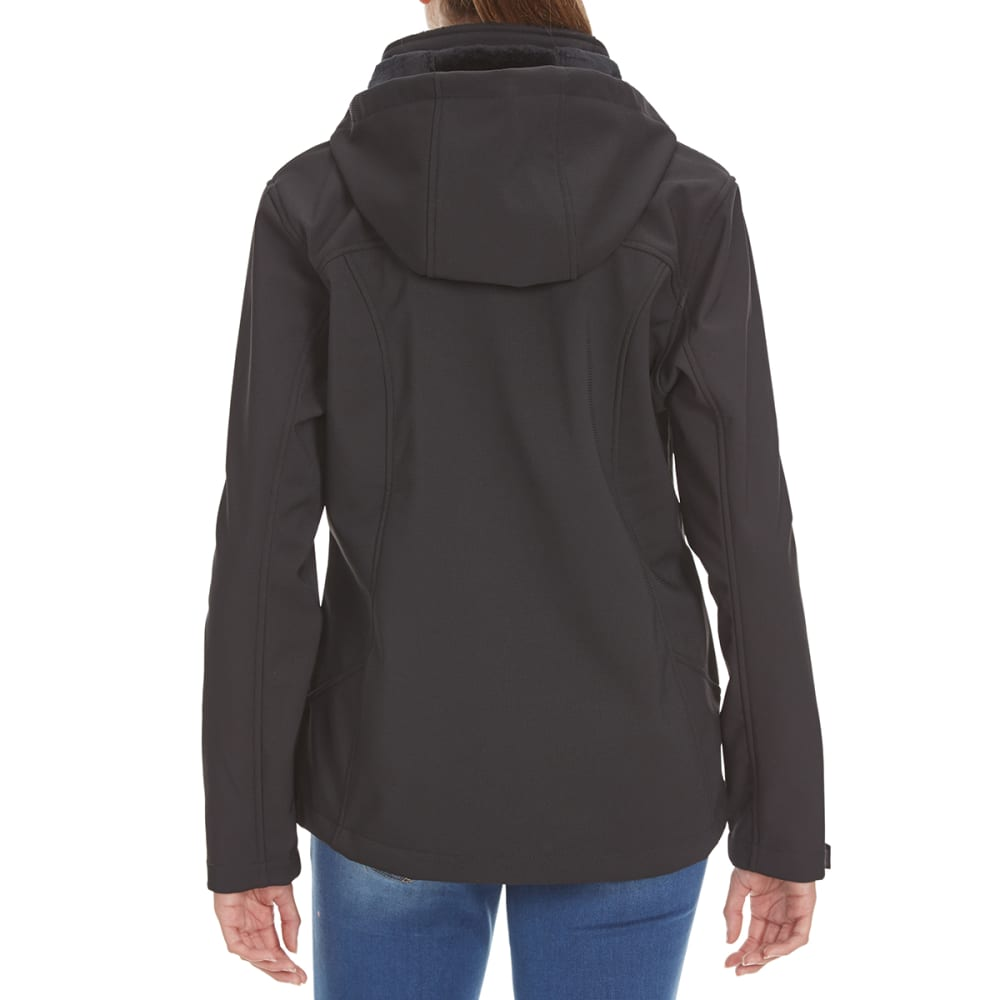 FREE COUNTRY Women's Short Hooded Softshell Jacket - BLACK