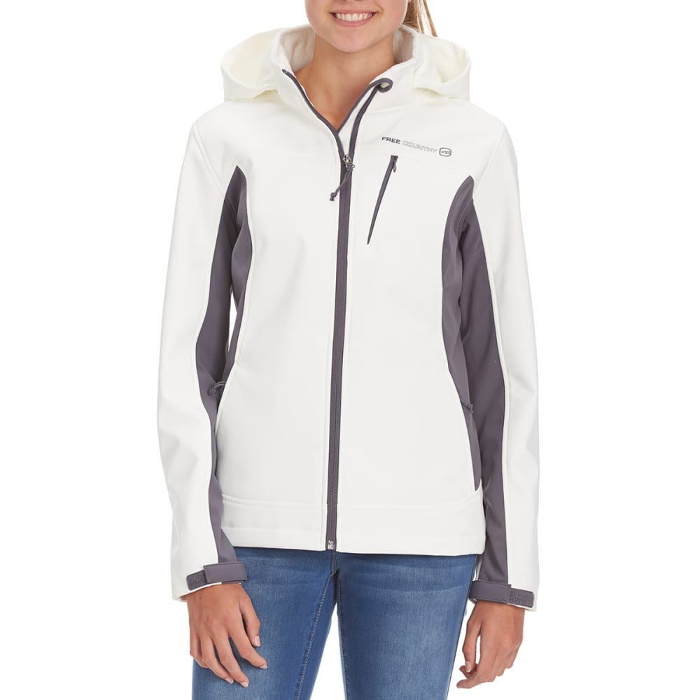FREE COUNTRY Women's Short Hooded Softshell Jacket - WHITE/GREY
