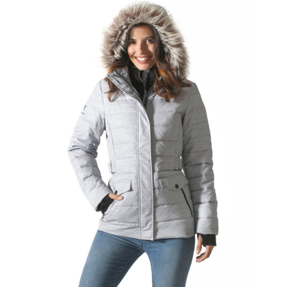 FREE COUNTRY Women's Printed Down Puffer Jacket - WINTER SILVER COMBO