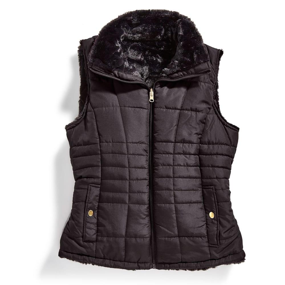 KC COLLECTIONS Women's Solid Reversible Faux Fur Vest - BLACK/BLACK