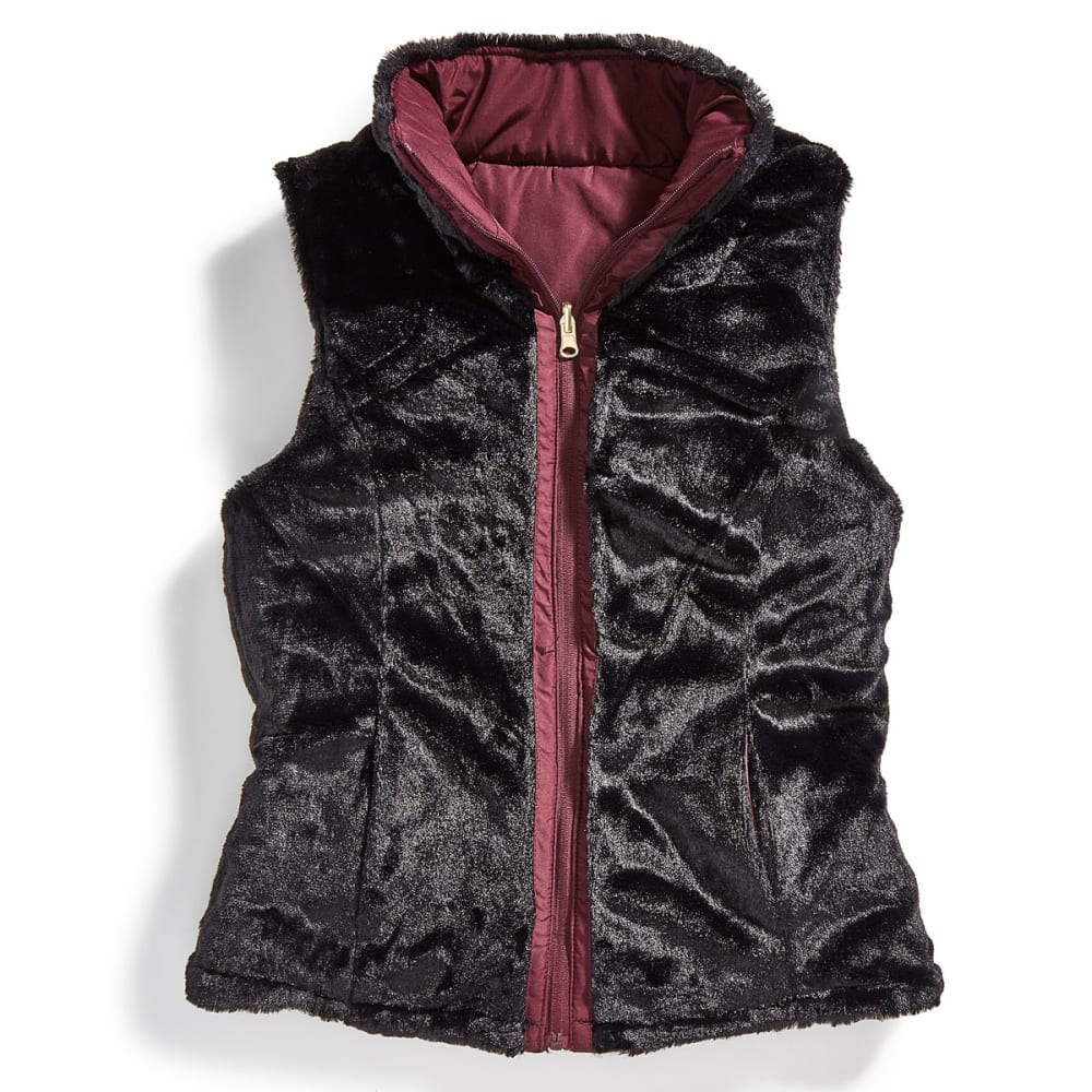 KC COLLECTIONS Women's Solid Reversible Faux Fur Vest - MULBURRY/BLACK