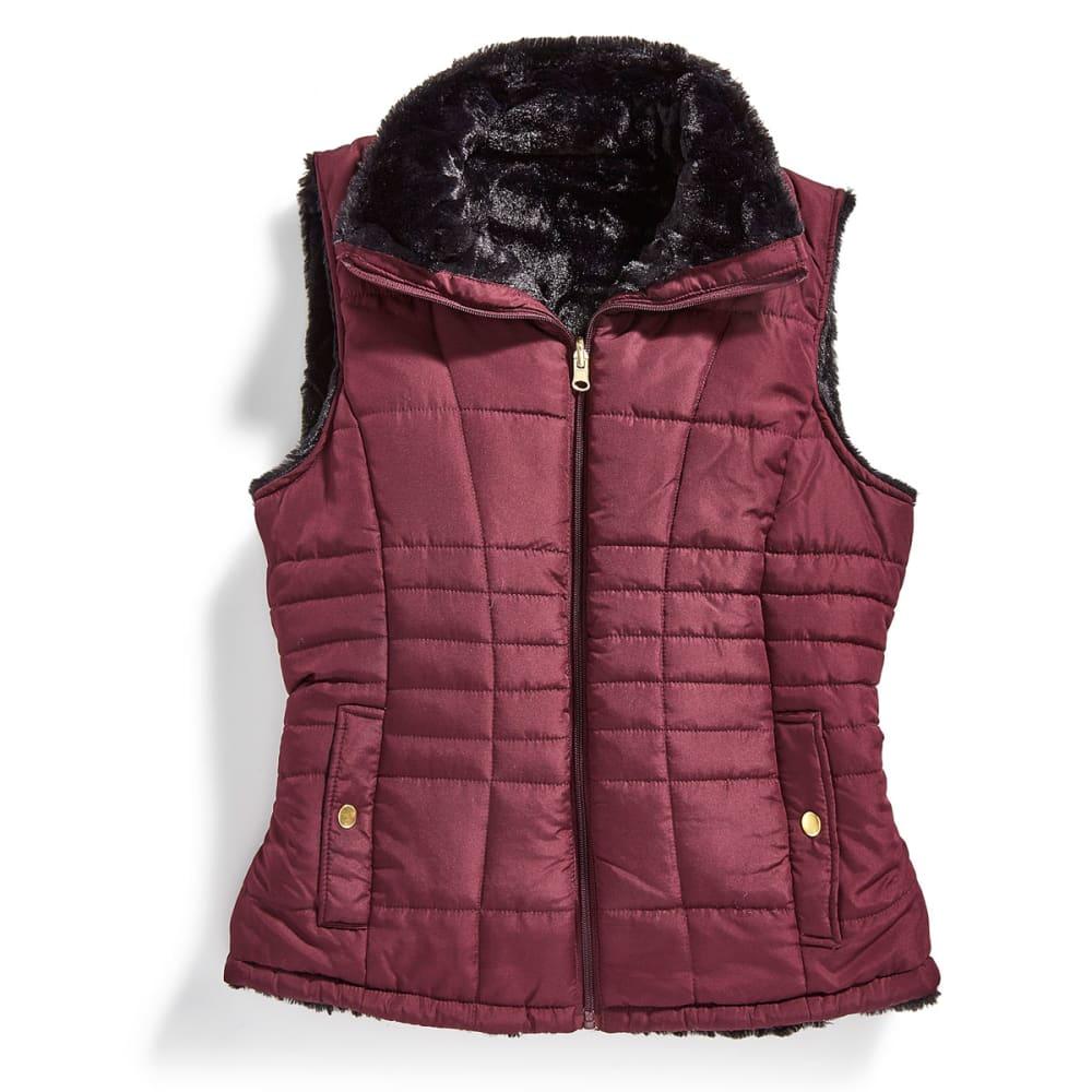 KC COLLECTIONS Women's Solid Reversible Faux Fur Vest - MULBURRY/BLACK