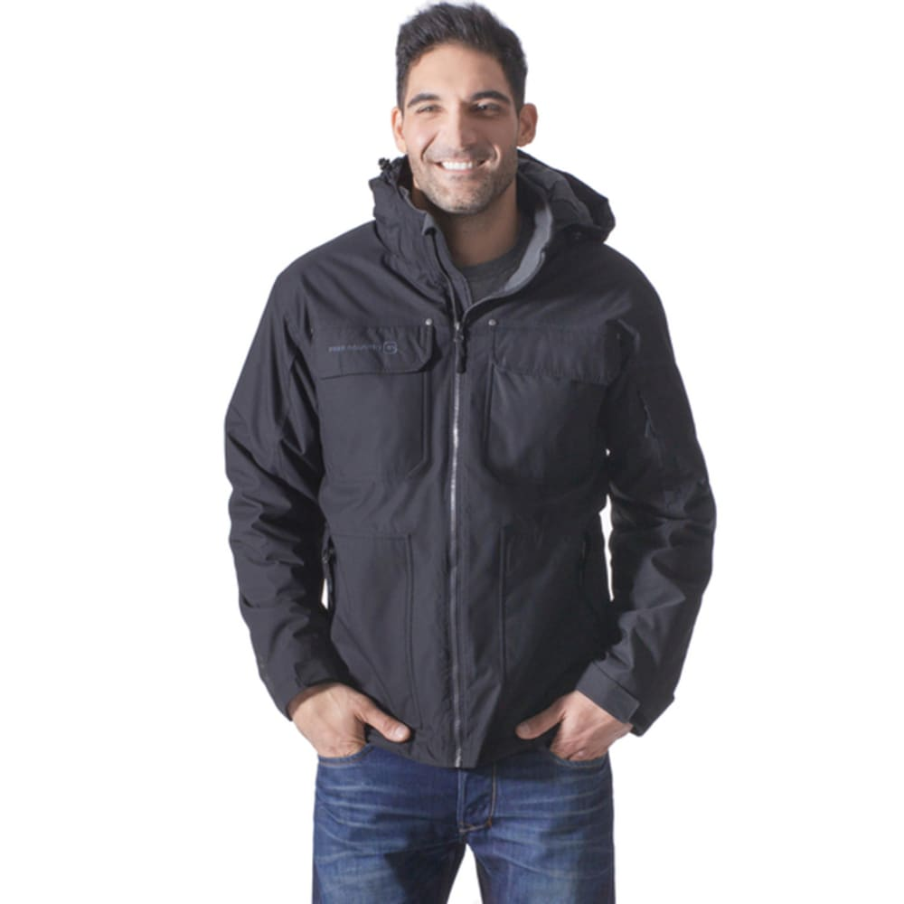 FREE COUNTRY Men's Mid-Weight Poly Canvas Four-Pocket Jacket - BLACK