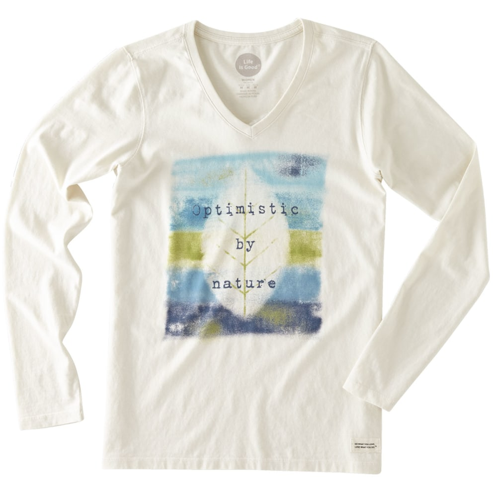 LIFE IS GOOD Women's Optimistic by Nature Long-Sleeve V-Neck Crusher Tee - SIMPLY IVORY