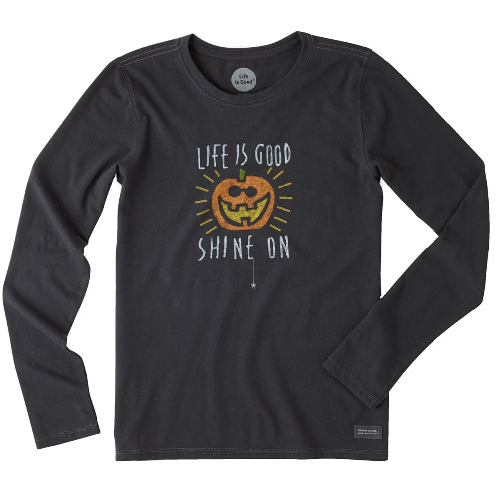 LIFE IS GOOD Women's Halloween Shine On Long Sleeve Crusher Tee - NIGHT BLACK