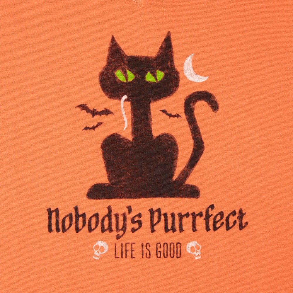LIFE IS GOOD Women's Halloween Nobody's Purrect Long Sleeve Crusher Tee - CORAL ORANGE