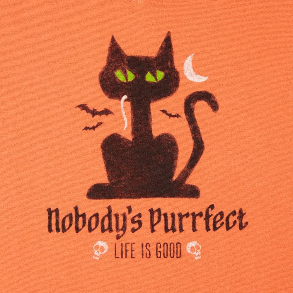 LIFE IS GOOD Women's Halloween Nobody's Purrect Long Sleeve Crusher Tee - CORAL ORANGE