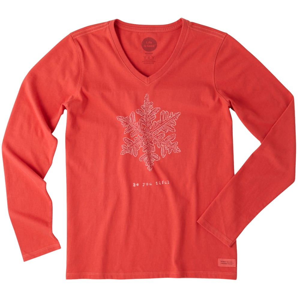 LIFE IS GOOD Women's Be You Tiful Snowflake Long-Sleeve Crusher V-Neck Tee - SIMPLY RED