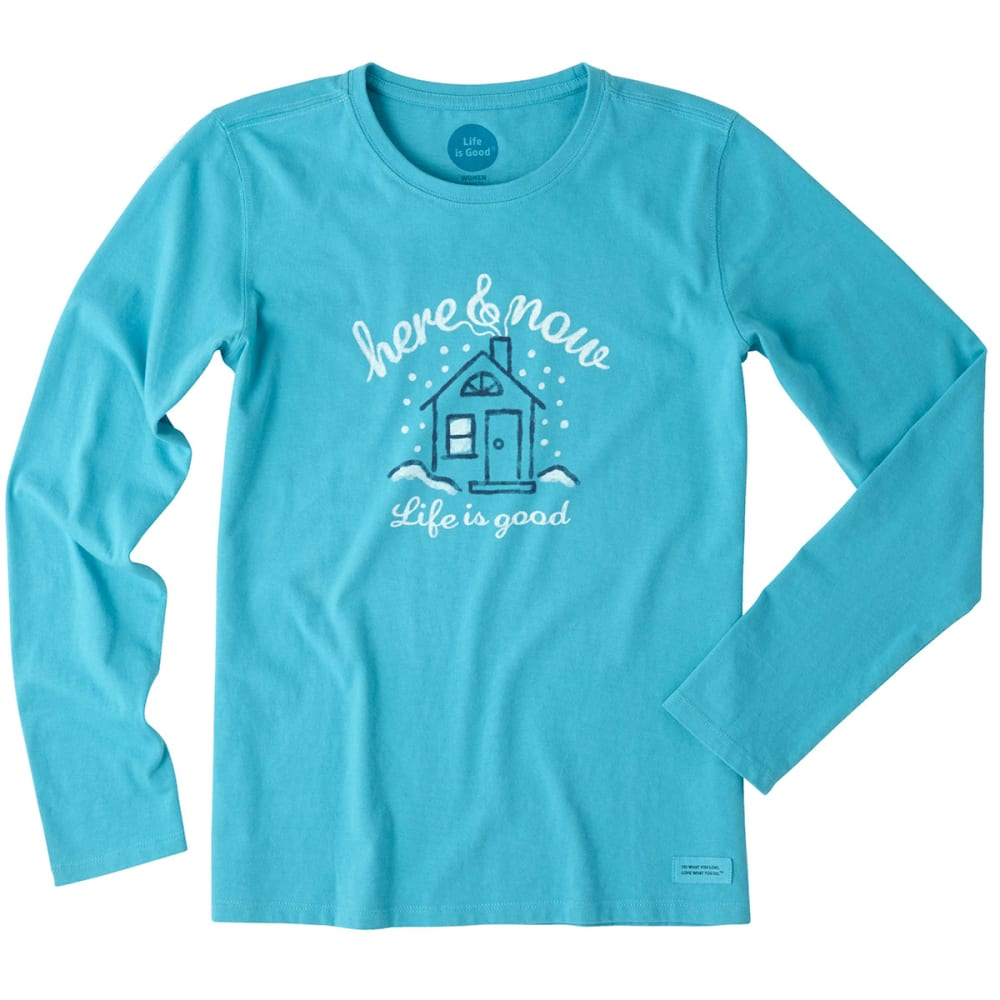 LIFE IS GOOD Women's Here & Now Home Long-Sleeve Crusher Tee - VIVID BLUE