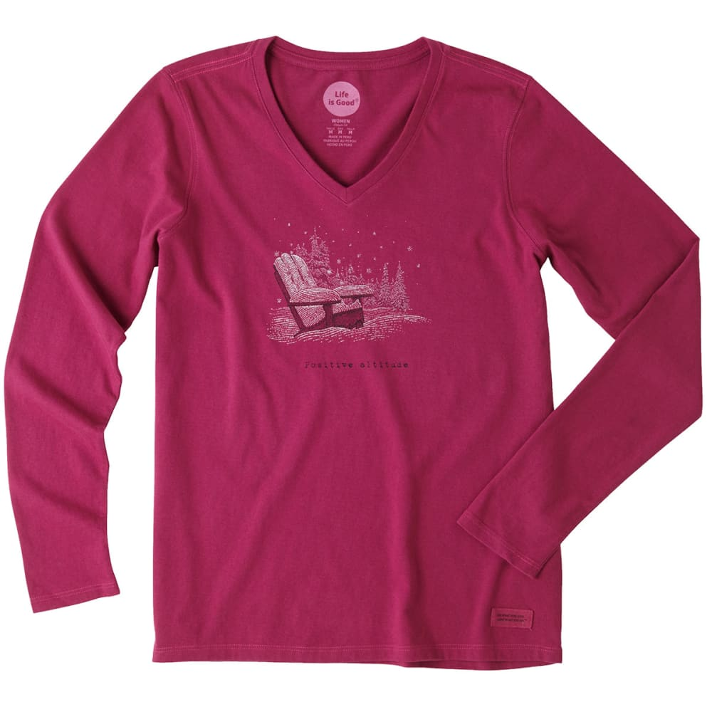 LIFE IS GOOD Women's Positive Altitude Adirondack Long-Sleeve Crusher V-Neck Tee - WILD PLUM